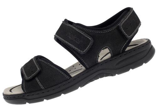 Rieker Homme Sandales Cuir Velcro Été Chaussures 26274-00 Noir