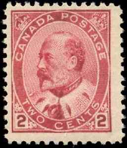 Canada-90-mint-F-VF-OG-NH-1903-King-Edward-VII-2c-darker-carmine-CV-197-50