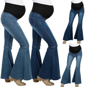 Pregnant-Mommy-Jeans-Women-Maternity-Comfort-Denim-Flared-Pants-Trousers-Bootcut