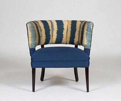 1950 S Hollywood Regency Channel Back Chair Turkish Silk