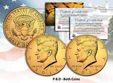 24K GOLD PLATED 2016 JFK Kennedy Half Dollar 2-Coin Set BOTH P&D MINT w/Capsules