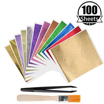 Imitation Gold Foil Sheets Gold Leaf Paper 100 Pcs Arts Decoration Gilding Diy Ebay