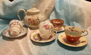 Vintage-Lot-of-4-Tea-Cups-Saucers-Tea-Pot-Gold-Flowers-Bone-China-England-Ivory