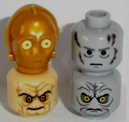 Lego Minifig Mixed SW Heads x 4 Darth Vader Chancellor Emperor Palpatine C 3PO