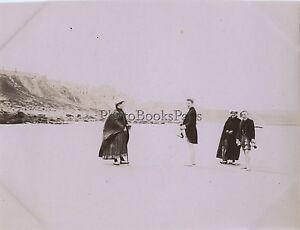 Famille Alla Spiaggia Tréport Il Havre Francia Vintage Citrato snapshot Ca 1900