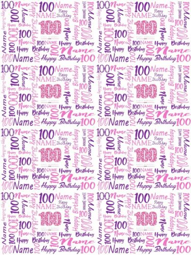100th Birthday Personalised Gift Wrapping Paper Choose Colour ADD NAME