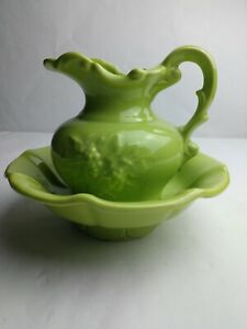 Vintage-McCoy-Lime-Green-Small-Pitcher-And-Wash-Bowl