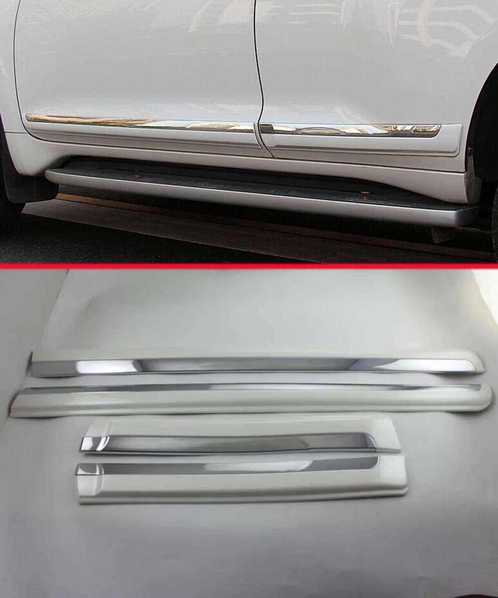 chrome body door side molding cover trim for 2014 2015 toyota prado fj150 white. Black Bedroom Furniture Sets. Home Design Ideas