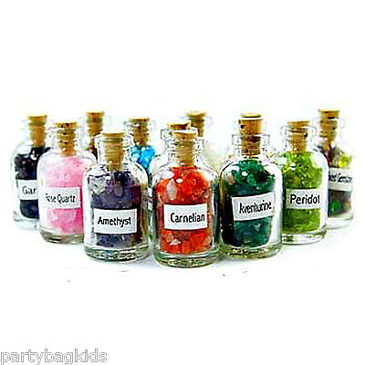 Real Gemstone Chips in a Miniature Glass Bottle