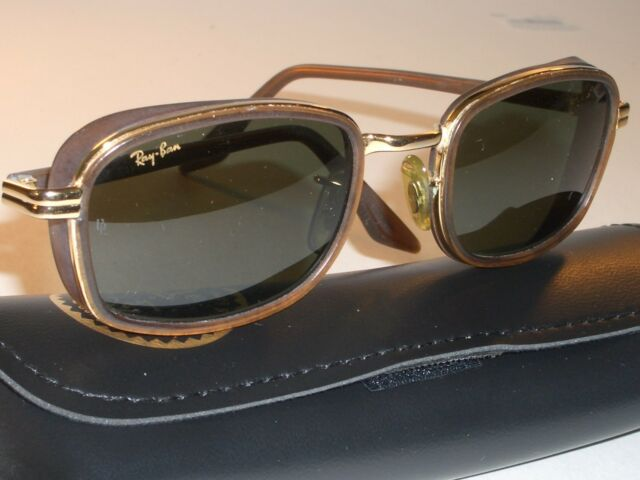36f85b7246 VINTAGE B L RAY BAN W2812 BROWN GOLD COMBO G15 UV RECTANGULAR DINERs  SUNGLASSES