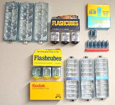 Lot Ge/sylvania-flashcubes/ge Ag-3b/ge Flip Flash 2/super 10 & Kodakolor Vr 126