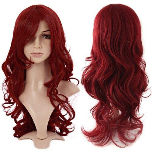 S-noilite R5N parrucca intera con capelli mossi colore rosso vino,