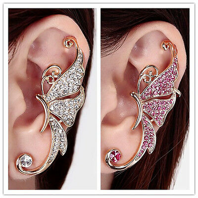 Women Rhinestone Crystal Butterfly Ear Cuff Clip Cartilage Ear wrap Earring 1pc