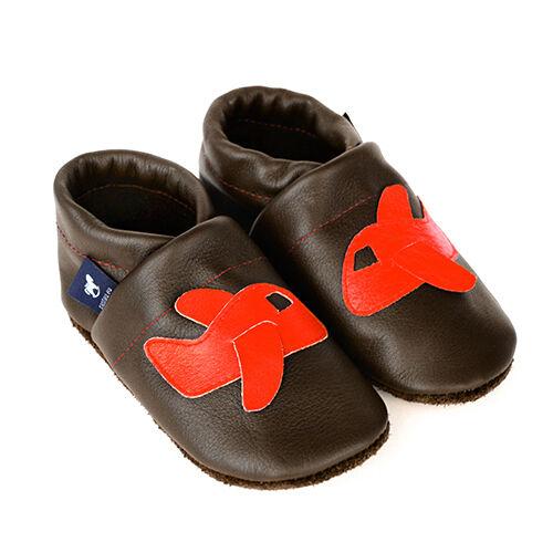 Pantau Leder Babyschuhe Krabbelschuhe Lederpuschen Lauflernschuhe mit Flugzeug