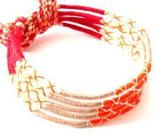 Lot 5 Bracelets Brésiliens de l'Amitié Macramé coton Friendship orange rouge