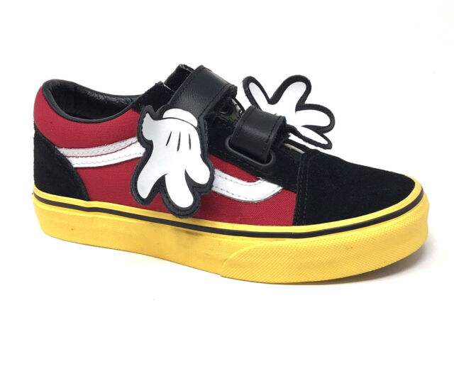 4671229afb Vans Mickey Disney Old Skool V Hugs Mouse Yellow Kids 2.5 Skate Shoes New  Red