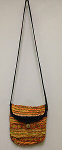 Hmong Hill Tribe Small Shoulder Emroidered Yellow Orange Handbag