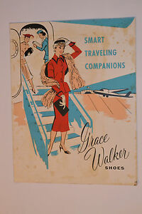 VINTAGE-1940s-GRACE-WALKER-SHOES-ADVERTISING-STORE-SIGN-11x14-034-AIRPLANE-TRAVEL
