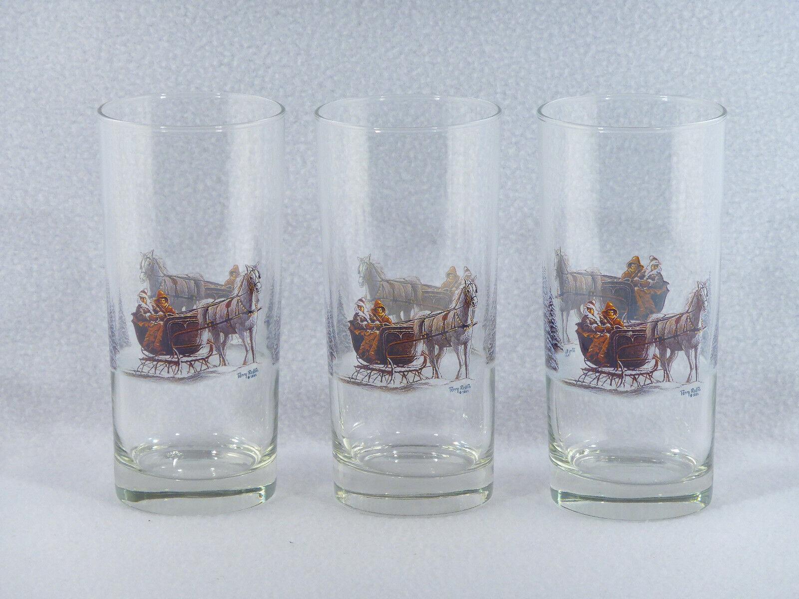 Terry Redlin HORSE & SLEIGH 14 oz. Drinking Glasses Tumblers - Set of 3