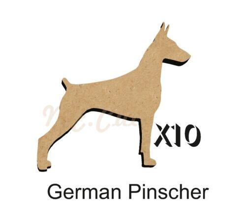 MDF Shape Dog 10 GERMAN PINSCHER  MDF cutouts keyring 5 SiZES FREE Hole DOGW125