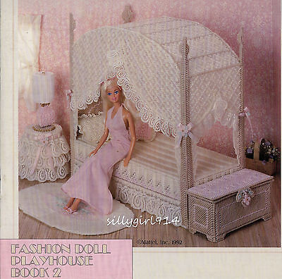 """CANOPY BEDROOM SET""~Plastic Canvas PATTERN BOOK for BARBIE FASHION DOLL~SEE PIC"
