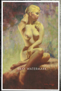 """1970's Earl Moran Pin-Up Poster Art Print """"The Blushing Blonde"""" 11x17 Pastel"""