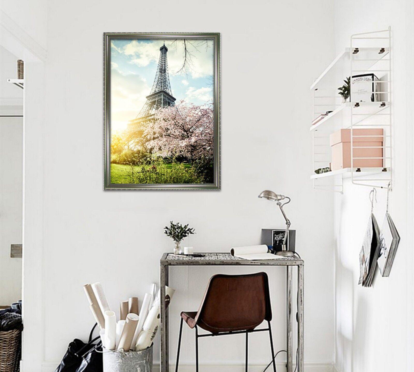 3D Torre Eiffel 3 Póster Enmarcado Paisaje Decoración del Hogar Pintura de Impresión Arte Wallpaper