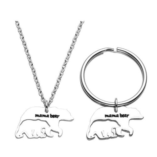 NEW 2pcs Set Silver Necklace Keychain Kit Couple Lover Friends Family Mom Kids