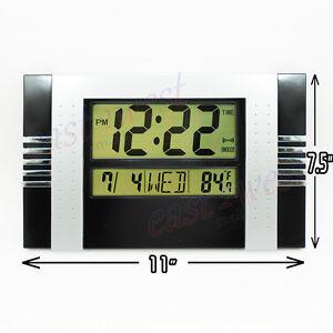 LCD-Digital-Desktop-Wall-Clock-Thermometer-Time-Alarm-Clock-Black-Silver