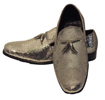 Men AFTER MIDNIGHT Formal Stage Wedding shoes Sequin shiny Slip on 6759 Black