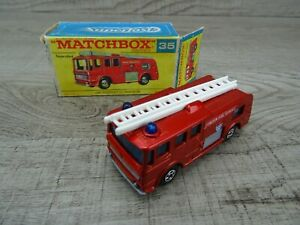 Vintage-1969-Lesney-Matchbox-Superfast-N-36-Merryweather-Bomberos-Rojo-EN-Caja