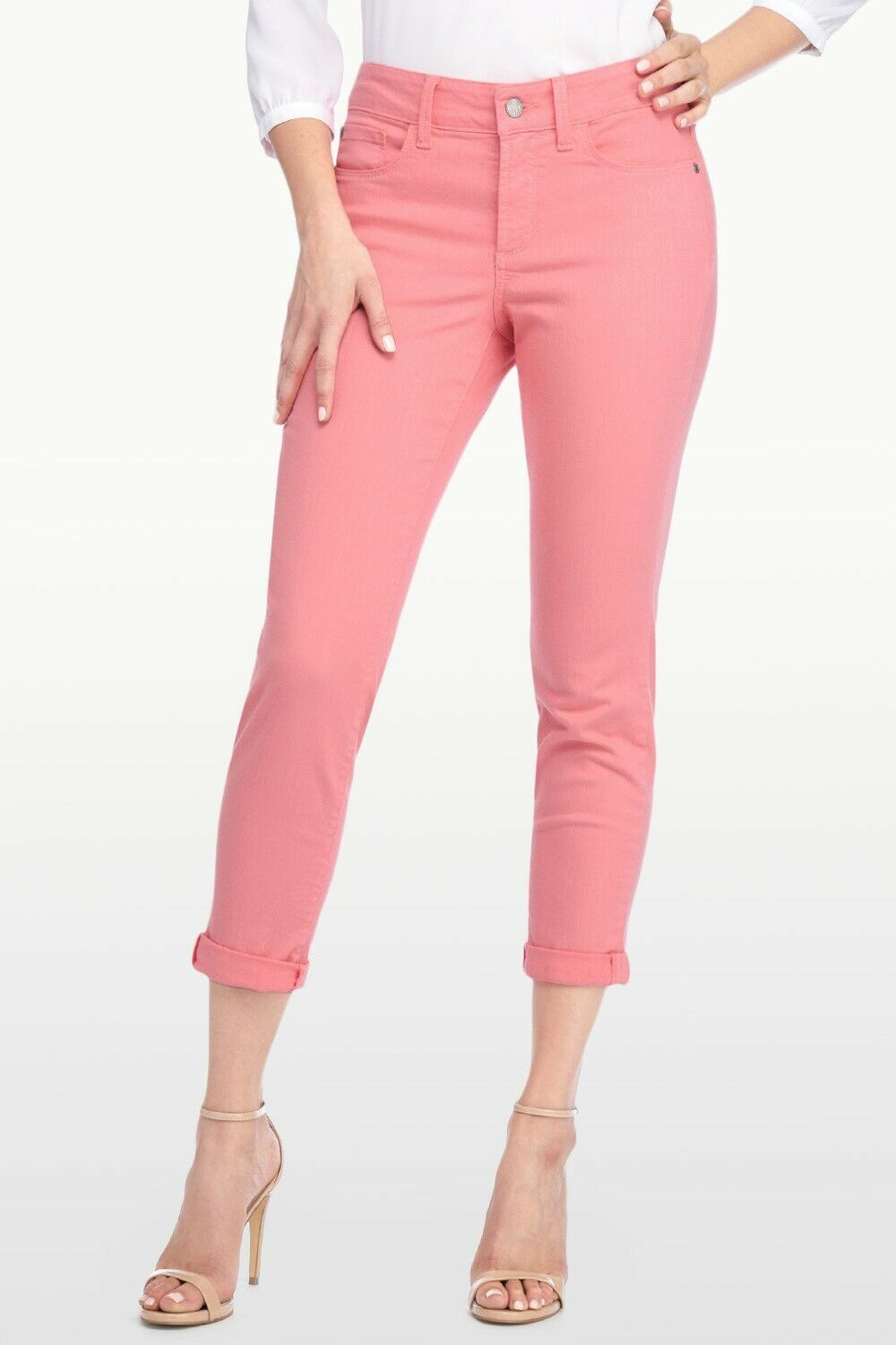 NYDJ Size 6 ALINA CONgreenIBLE ANKLE SKINNY SLIMMING JEANS PANTS PALE GUAVA NWT