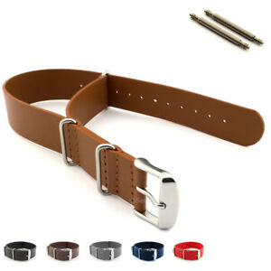 Nato-Watch-Strap-Band-Genuine-Leather-G10-MoD-SS-Buckle-18-20-22-24-Military-MM