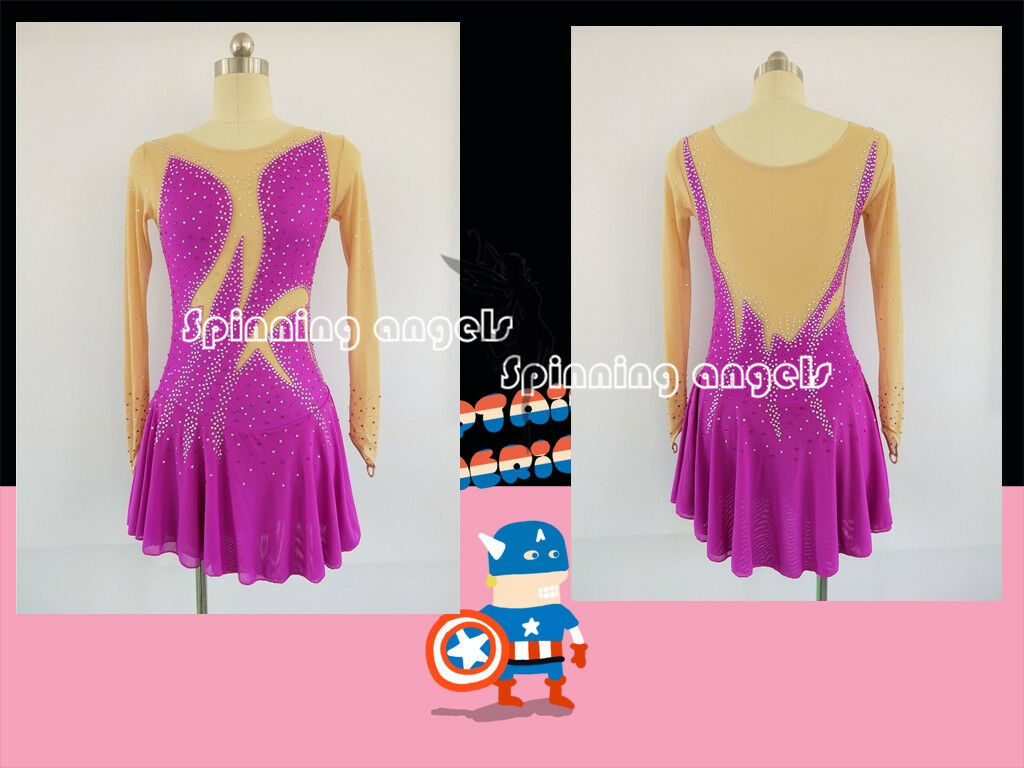 Adult Marvellous Ice Skating Figure skating Dress Gymnastics   Costume Purple  online shopping and fashion store