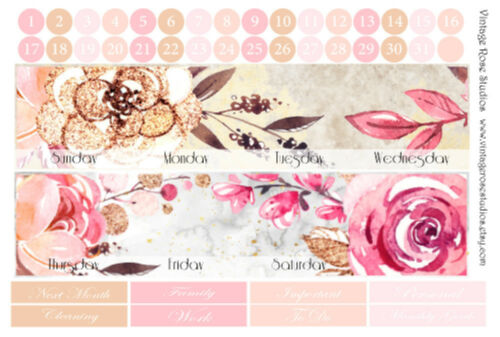 Glamorous Vertical /& Horizontal Monthly Calendar View Planner Stickers any Month