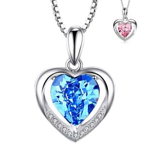 925-Sterling-Silver-Heart-Crystal-Stone-Pendant-Chain-Necklace-Womens-Jewellery