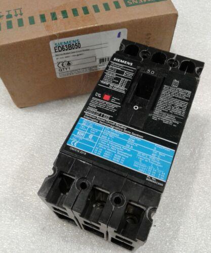 ED63B050 SIEMENS 3 POLE 50A 600VAC 50//60Hz SENTRON CIRCUIT BREAKER NEW