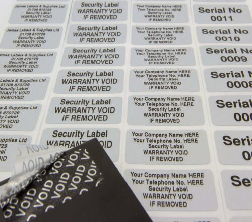 Security Labels Stickers Tamper Evident VOID Matt Silver Polyester 38mm x 19mm