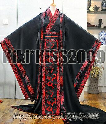Chinese HanFu Kimono Tan Dynasty Black&Red Dragon Robe Cosplay Custom Made