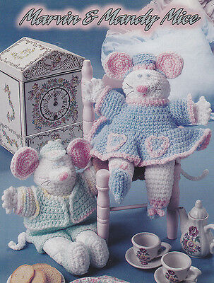 Crochet Pattern ~ MARVIN & MANDY MICE DOLLS Stuffed Animals Toy ~ Instructions