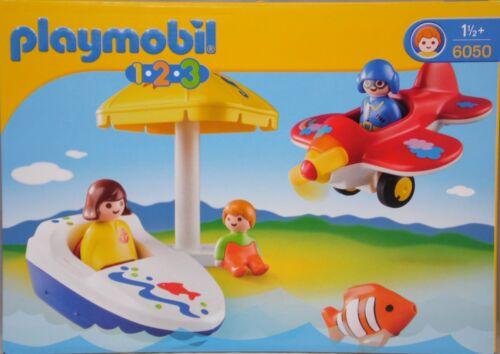 Playmobil 123 1.2.3 6050 Urlaubsspaß Flugzeug Boot Sonnenschirm Clownfisch NEU