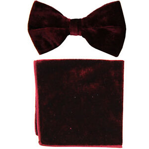 New-formal-men-039-s-pre-tied-Bow-tie-amp-Pocket-Square-Hankie-Velvet-Burgundy-wedding
