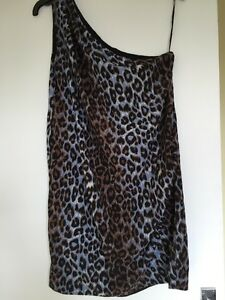 Mango-Suit-Leopard-One-Shoulder-Dress-Size-Xs