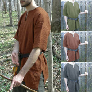 Medieval Vintage Men Women Tunic Top Shirt Knight Cosplay Costume Party Summer