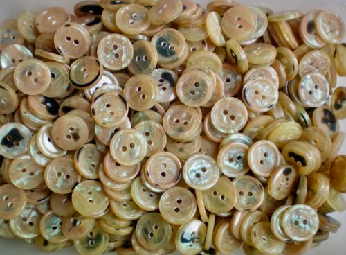 Small 15mm 24L Orange Peach Light Brown Pearlescent 2 Hole Craft Buttons #13