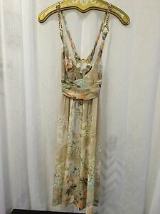 Roberto-Cavalli-Women-039-s-Dress-Multi-Beige-Floral-Print-Gold-Chain-Size-6-NWOT