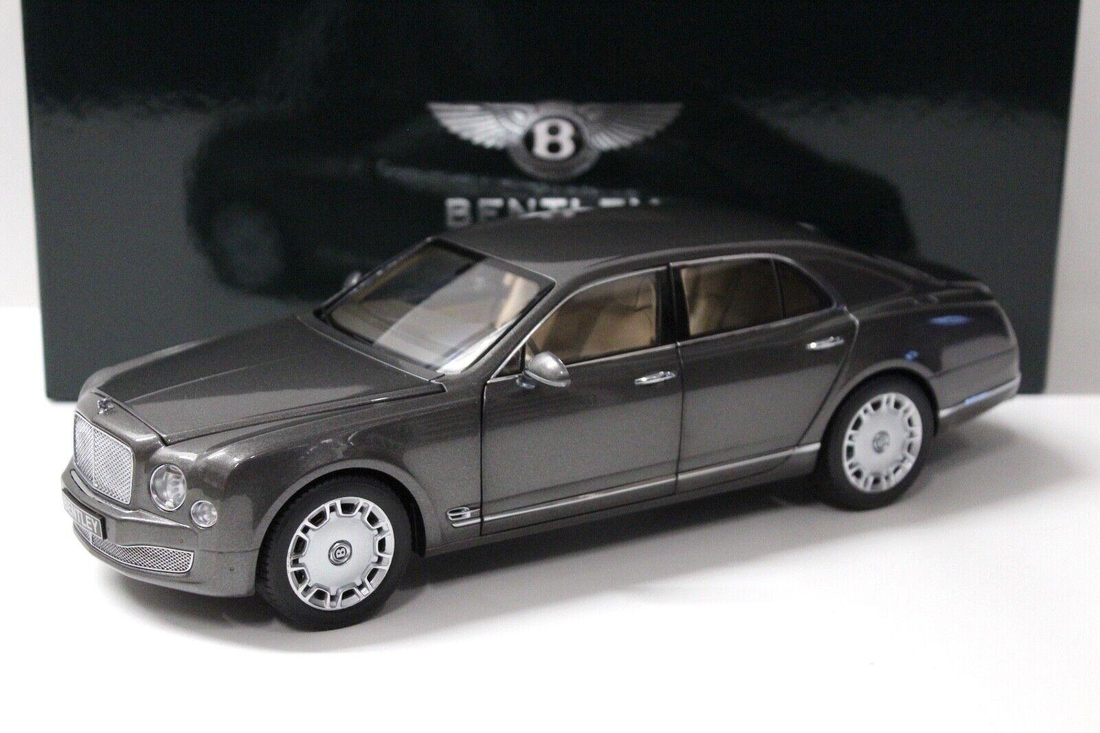 1 18 Minichamps Bentley Mulsanne Brodgar gris Dealer New chez Premium-modelcars