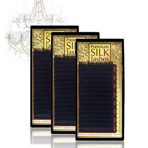 Set-3-Stk-Einzelwimpern-Wimpernverlaengerung-Premium-Silk-Lashes-Extensions