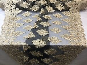 Lace-Fabric-Sequins-Mesh-For-Dress-Decoration-amp-Bridal-Veil-Gold-By-1-Yard