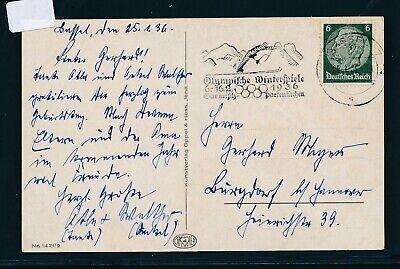 31955) Olympiade 1936, Werbestempel Garmisch > K2 Kassel 7, Karte 100% Hochwertige Materialien